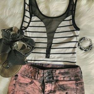 heart hips Tops - HEART HIPS   Trendy B+W Striped Bodysuit!